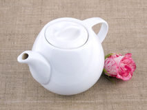 Teapot on linen background Royalty Free Stock Images