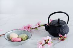 Teapot and macaroni with peach flowers on marble background. Black teapot and macaroni with peach flowers on marble background