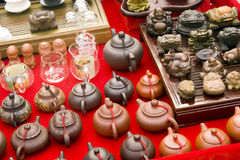 Teapot market. Kinds of Chinese style teapots in a  market Stock Photos