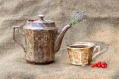 Teapot and a mug with tea. Royalty Free Stock Photography
