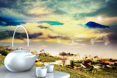 Teapot with nice background Stock Images