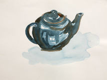 Teapot. Painted with watercolor colors Stock Photos