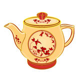 Teapot part of porcelain whit red flowers. Vector illustration eps 8 without gradients Stock Photo