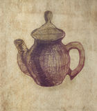Teapot. Pencil sketch on old paper. Stock Photography
