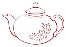 Teapot, pictogram. China teapot with a pattern from a flower and leaves, pictogram Royalty Free Stock Images