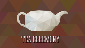Teapot in polygonal design. Abstract triangle style. Tea ceremony poster, banner, flyer. On brown multicolor background Royalty Free Stock Photo