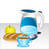 Teapot and products on table Stock Photography