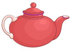 Teapot red. China round red teapot with the white handle Royalty Free Stock Photography