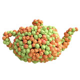Teapot of  red and green apples Stock Photos