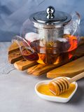 Teapot of red tea and honey Royalty Free Stock Photo