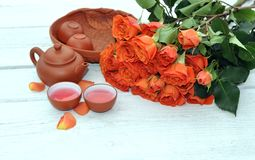 Teapot and rose Royalty Free Stock Photo