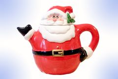 Teapot Santa. A Santaclause teapot Christmas time tabelware display Royalty Free Stock Photo