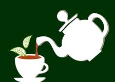 Teapot serving a cup of tea Royalty Free Stock Photo
