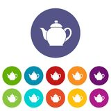 Teapot set icons Stock Images