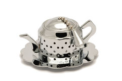 Teapot shaped tea infuser. Silver teapot shaped tea infuser isolated on white background Stock Photo