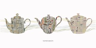 Teapots silhouettes with floral print. Herbal tea vector illustration