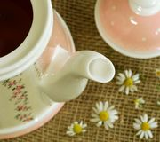 Teapot with soothing  camomille tea and cam Royalty Free Stock Photo