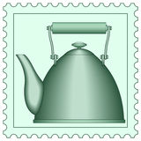 Teapot on stamp Royalty Free Stock Photos