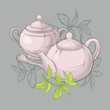 Teapot and sugar bowl. Illustration with  teapot and sugar bowl and green tea leaves Royalty Free Stock Images