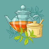 Teapot and sugar bowl. Illustration with teapot, sugar bowl and tea leaves on color background Royalty Free Stock Images