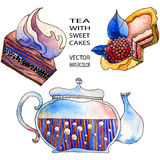Teapot and sweet cakes Stock Photography