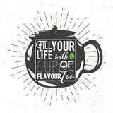 Teapot sylwetka z ręcznie pisany zwrotem Wektorowa ilustracja, Graficzny projekt Obraz Royalty Free