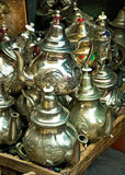 Teapot, tadjin, vase and other products. Of the Moroccan potter's factories Stock Image