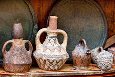 Teapot, tadjin, vase and other products of the Moroccan. Potter's factories Royalty Free Stock Images