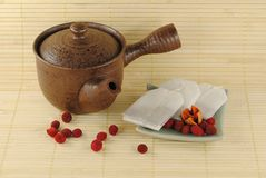 Teapot with tea bags on a little plate Stock Image