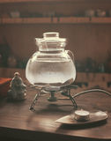 Teapot for tea ceremony. On wooden background stock image