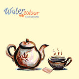 Teapot and tea cup on white background , watercolo Stock Photos
