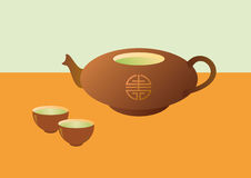 Teapot with tea and cups. Vector illustration Chinese tea. The teapot and cups of Chinese green tea. Illustration inspired by Asia. Background tea. Tea Stock Image