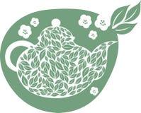 Teapot with tea leaf Stock Photo