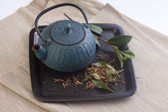 Teapot and tea leaves Stock Images