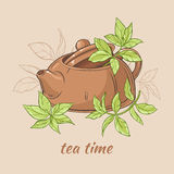 Teapot and tea leaves. Vector Illustration with brown teapot  with tea leaves on brown  background Stock Image