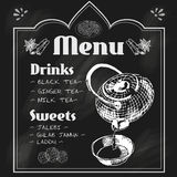 Teapot and teacup blackboard menu Royalty Free Stock Photos