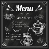 Teapot and teacup blackboard menu. Tea cafe blackboard menu for  black and green herbs blend teapot with dessert chalk sketch vector illustration Royalty Free Stock Photography