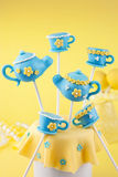 Teapot and teacup cake pops Royalty Free Stock Image