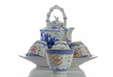 Teapot and teacup made of ceramic. Stock Image