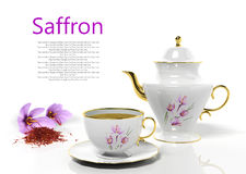 Teapot and teacup with saffron. On white background Royalty Free Stock Images