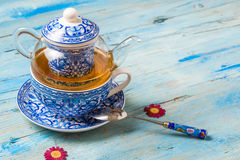 Teapot, teacup and spoon Royalty Free Stock Image
