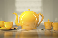 Teapot and teacups Royalty Free Stock Images