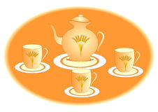 Teapot and three teacups. Illustration for a menu, signboard, advertising etc Royalty Free Stock Image