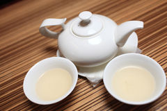 Teapot and two cup of tea Stock Image