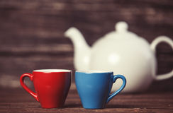Teapot and two cup of tea. Royalty Free Stock Image
