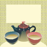 Teapot with two tea bowls. Illustration (vector EPS8 version include) of teapot with two tea bowls on matting background, have a place for text, no mesh Stock Photos
