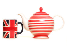 Teapot and union jack mug Royalty Free Stock Photo