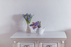 Teapot and vase with hyacinth Royalty Free Stock Photo