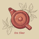 Teapot. Vector Illustration with brown teapot on brown  background Stock Photo