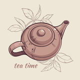 Teapot. Vector Illustration with brown teapot on brown  background Stock Photography